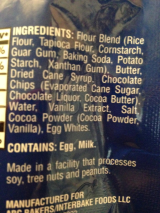 Girl Scout GF Cookie Ingredients